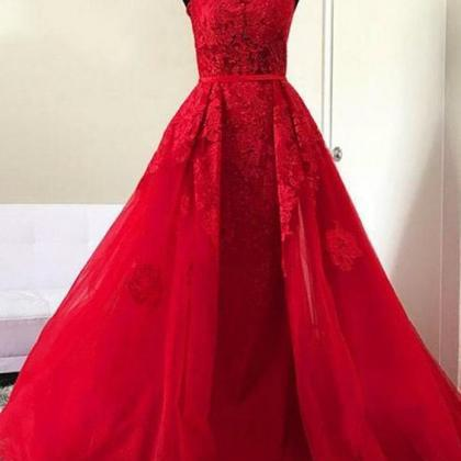 red Prom Dress,lace Evening Dress, ..