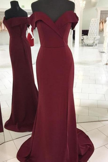 V-neck Off Shoulder Long Burgundy Mermaid Prom Dresses Leg Split