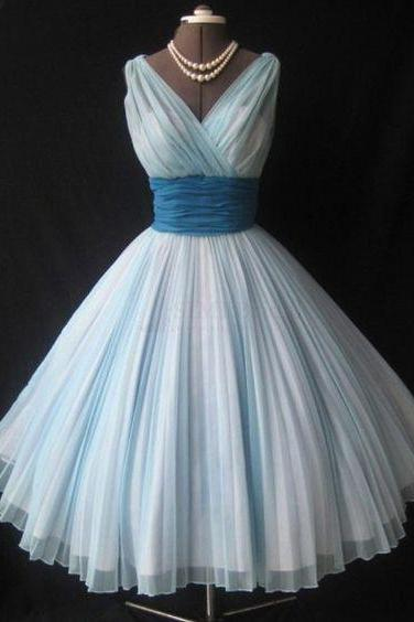 V-neck Sleeveless Tea-Length Ice Blue Homecoming Dresses with Pleats Sash,Vintage Prom Dress