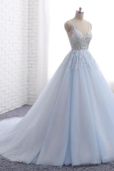 Pale Blue V Neckline A line Tulle Lace Beaded Evening Prom Dresses, Popular Sweet 16 Party Prom Dresses, Custom Long Prom Dresses