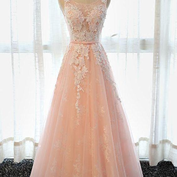 Simple pink lace long senior prom dress, long tulle bridesmaid dress
