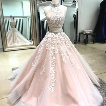 Cheap Charming ball gowns Custom Two Pieces formal dress Most Popular Modest Prom Dresses, Party Evening dress,