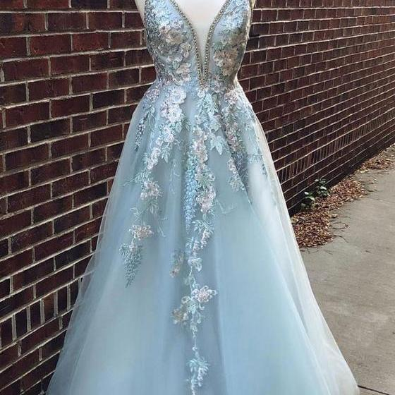 Blue ball gowns v neck bridal dress tulle lace long prom dress, blue lace evening dress appliques evening dress