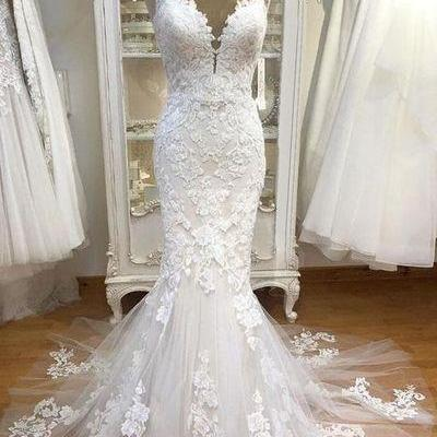 Spaghetti bridal dress Strap Lace wedding dress Mermaid Tulle wedding dress Applique Ivory Wedding Dresses