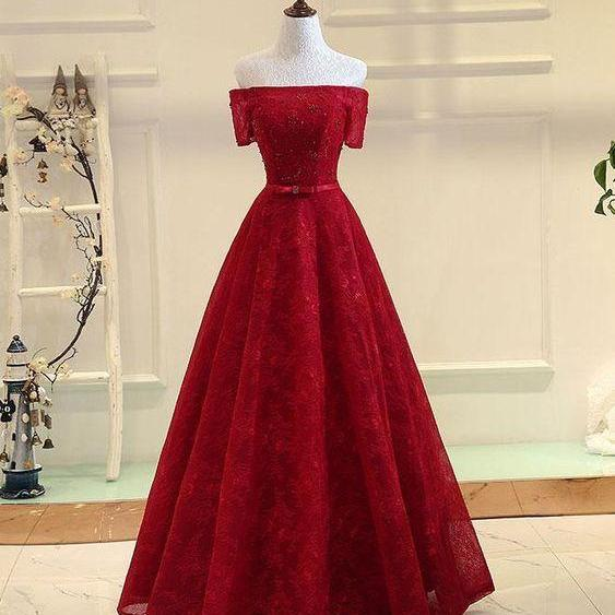 Burgundy A line lace long prom dress, burgundy evening dress,off shoulder red prom dress