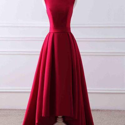 Red matte satin prom dress,round neck high low train evening dress